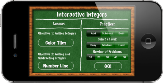 Interactive Integers app positive negative numbers addition subtraction manipulatives