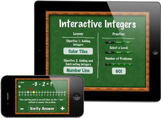 Interactive integers app for addition and subtraction of positive and negative numbers