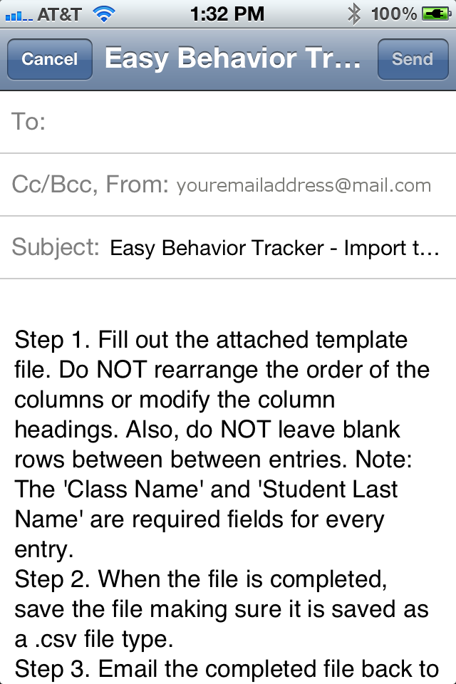 Easy Behavior Tracker for Teachers Import Email