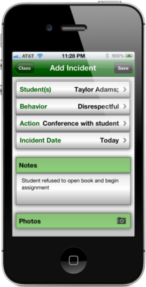 Easy Behavior Tracker for Teachers add incident