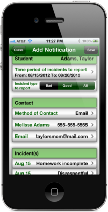 Easy Behavior Tracker for Teachers Parent Notification