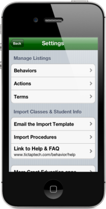 Easy Behavior Tracker for Teachers Settings