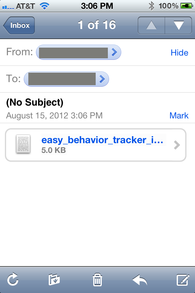 Easy Behavior Tracker Email Import Template