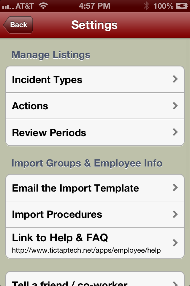 Employee Manager Settings