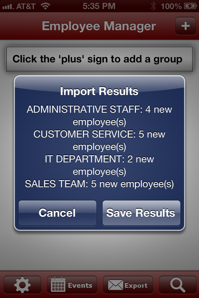 Employee Manager Import Results