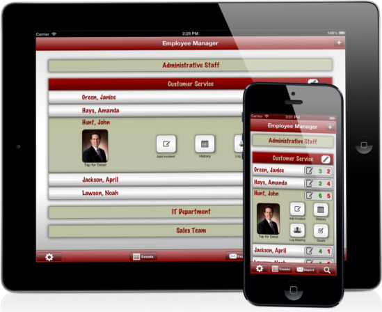 Employee Manager Goal and Incident Tracking for Iphone and Ipad