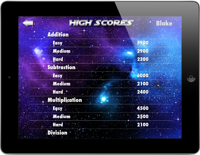 Star Math app high scores